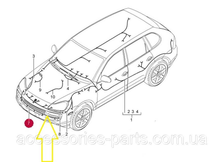 Проводка переднего бампера | Porsche Cayenne Bi-Turbo 07-2010 Новая Оригинальная