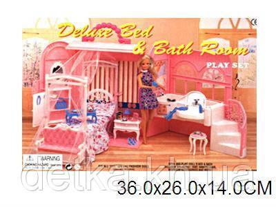 Мебель для кукол Gloria 9988 спальня с ванной комнатой