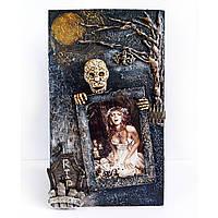 Оригинальный подарок на Хэллоуин Фоторамка Happy Halloween ручная работа. Декор дома на хэллоуин