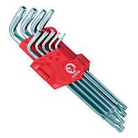 Набор Г-образных ключей TORX с отверстием 9шт, Т10-Т50, Cr-V, Big, Intertool, HT-0606