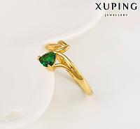 Кольцо Позолота 24к  Два сердечка с зеленым цирконом Размер 16,17,18
