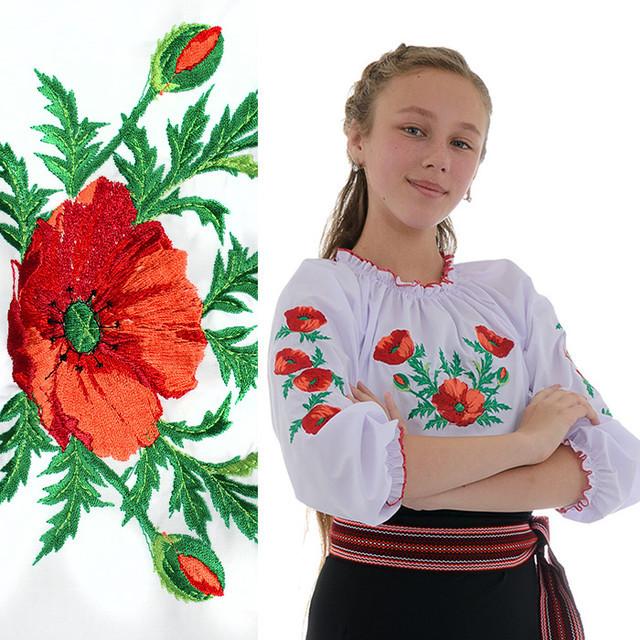 Вышитая блузка для девочки Маковая роса от 3 до 6 лет