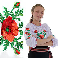 Вышитая блузка для девочки Маковая роса от 3 до 6 лет, фото 1