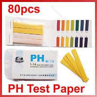 Лакмусовая индикаторная бумага (pH-тест) 1-14рН 80 полосок