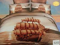 Сатиновое постельное белье евро 3D ELWAY S202