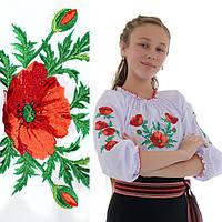 Вышитая блузка для девочки Маковая роса от 7 до 12 лет