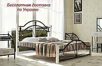 Кровать металлическая Диана на деревянных ножках двуспальная