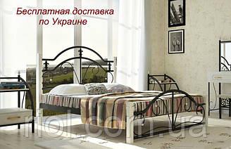 Кровать металлическая Диана на деревянных ногах двуспальная