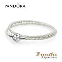 Pandora кожаный браслет #590745CIW-D серебро 925 Пандора оригинал