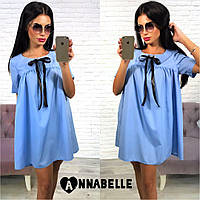 Платье летнее короткое , ткань коттон Цвета: т.синий, голубой, белый фото реал аанд №1094