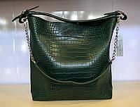 Женская сумка шоппер , эко-кожа, с плечевым ремешком, принт, зеленая рептилия