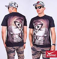 Мужская котоновая футболка с модным принтом