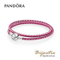 Pandora кожаный браслет #590747CPMX-D серебро 925 Пандора оригинал