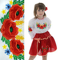 Вышиванка для девочки Маки с колосками от 3 до 6 лет