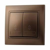 LEZARD MIRA Выключатель проходной двойной (Светло-коричневый перламутр)