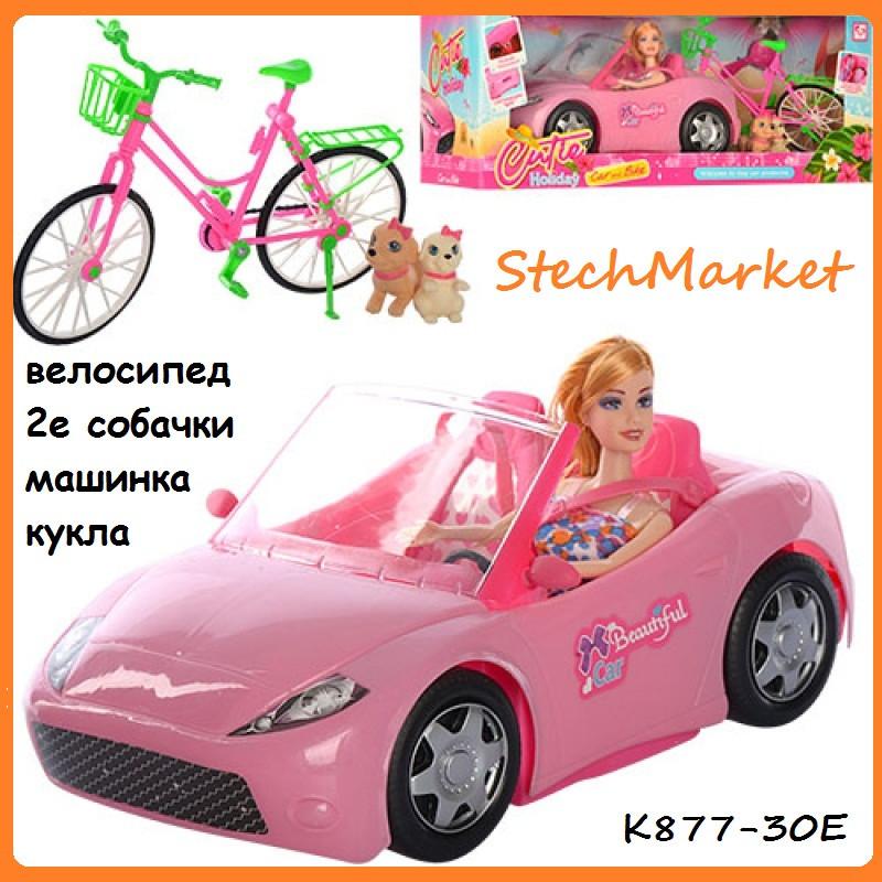 Кукла барби в машинке с велосипедом K877-30E