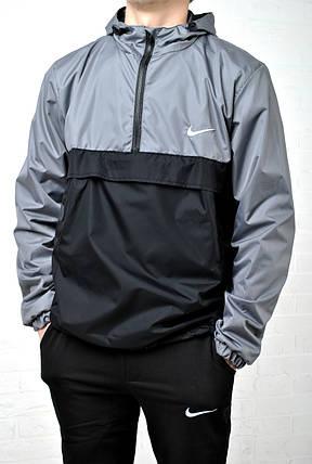 Мужской анорак - ветровка  Nike черный с серым, есть подкладка, фото 2