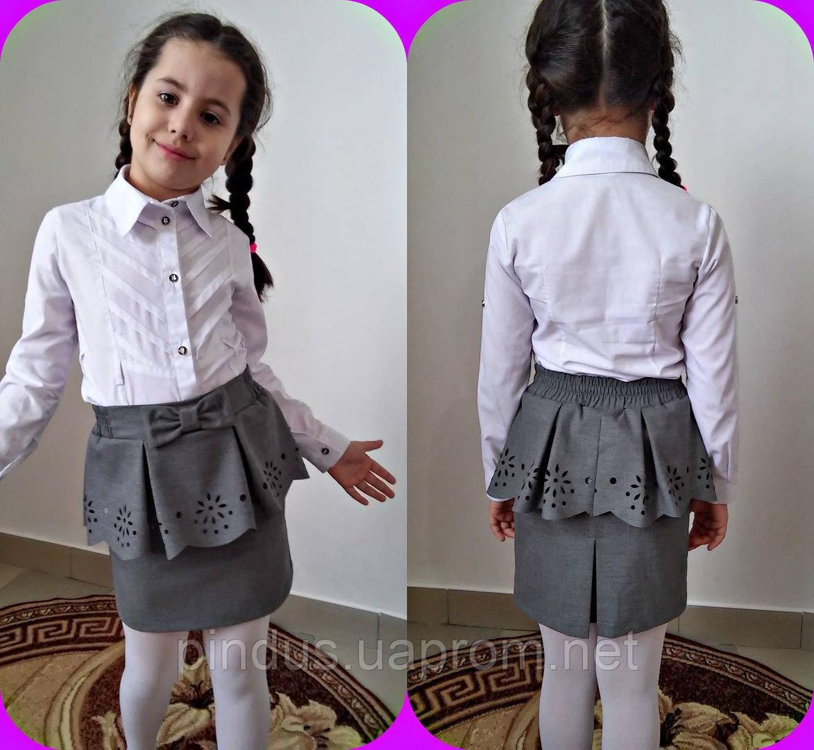 Юбка школьная для девочек с баской
