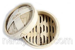 Бамбуковая пароварка одноярусная с крышкой d-20см., фото 2