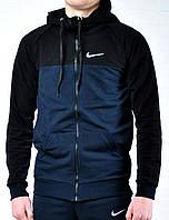 Спортивная кофта Nike синяя с капюшоном черным