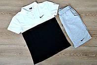 Летний комплект Nike бело-черное поло серые шорты