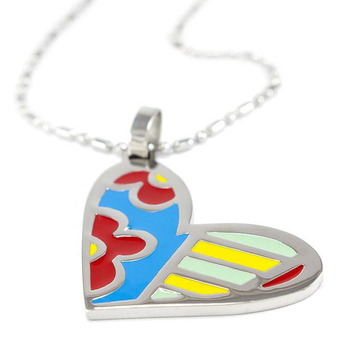 Кулон Сердце с разноцветными вставками Арт. PD051SL