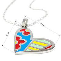 Кулон Сердце с разноцветными вставками Арт. PD051SL, фото 4