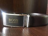 Ремень мужской кожаный с пряжкой автомат Hugo Boss