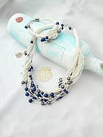 Набор эко-украшений из льняной нити, колье на шею и браслет в морском стиле..