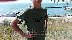 Футболка детская ARMY цвет хаки, фото 3