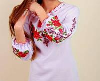 Батальное платье с цветочной вышивкой БАТАЛ