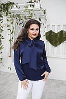 Шелковая женская блуза с бантом P6808