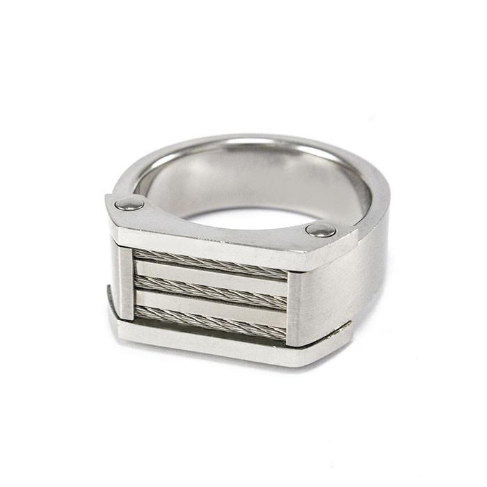 Кольцо-печатка из стали серебристая со жгутами Арт. RNM018SL