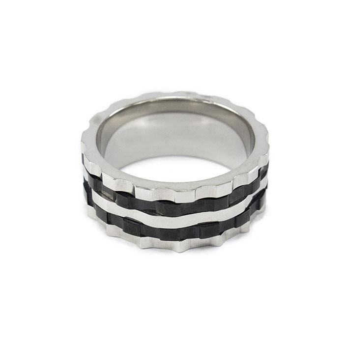 Кольцо из стали серебристое с черными полосами Арт. RNM015SL