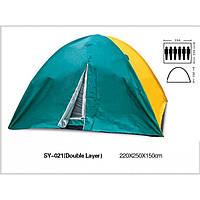 Палатка туристическая шестиместная с тентом Shengyuan 021: размер 2,2х2,5х1,5м