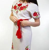 Платье из домотканного полотна с коротким рукавом