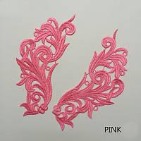 Кружевной фрагмент (лейс) Глория розовый, 22х9 см. Цена за пару, фото 1