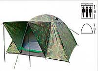 Палатка туристическая трехместная с тентом и тамбуром Shengyuan 034: 2х2х1,35м, камуфляж