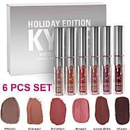 Набор жидких матовых помад Kylie Holiday Edition от Кайли Дженнер 6 штук, фото 3