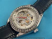 Часы Omega 114998 женские механические серебристые на черном ремне скелетон автоподзавод 3,8 см