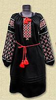 Чёрное платье с этнической вышивкой