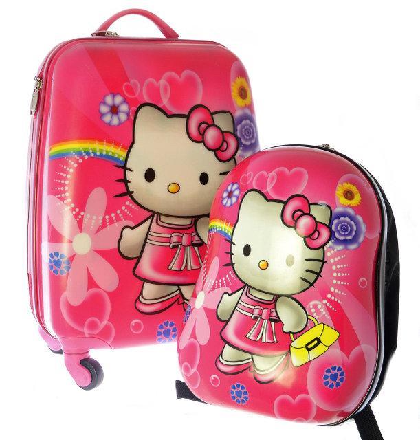 Чемодан дорожный на 4-х колесах Hello Kitty + рюкзак 109HK -2