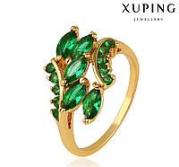 Кольцо Позолота 24к с россыпью зеленых камней Размер 16,16.5,17,17.5