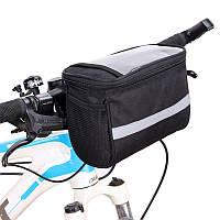 Большая велосипедная сумка на руль с прозрачным отсеком под смартфон