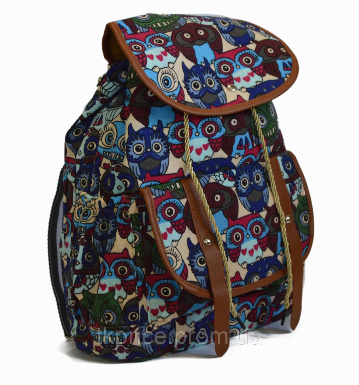 Рюкзак для прогулок хлопковый с совами