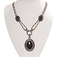 [15, 30 мм] Колье с натуральным камнем черный Агат серый металлл оправа гнездо, цветочная овальные камни