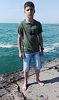 Футболка детская Рыбачок цвет хаки рост 152 см.