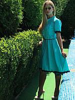 Платье мята с кружевом