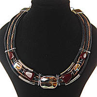 Ожерелье африканский мотив, цвета: золотой, коричневый, черный,  4 ряда, металлические бусины, встав