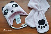 Зимний набор шапка и шарф для девочки Панда синтепон,подкладка котон